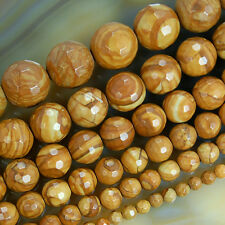 Faceted Natural Yellow Wood Grain Japser Beads 15.5