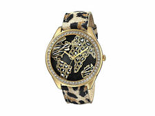 $95 GUESS Womens Animal Print Gold-Tone Watch with World Map Authentic U0504L2
