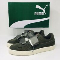 Puma Suede Heart Quilt (Women's Size 9) Athletic Sneaker Olive Green Shoes
