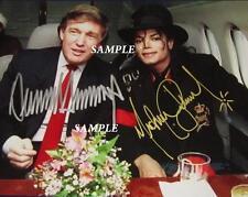 DONALD TRUMP MICHAEL JACKSON REPRINT 8X10 AUTOGRAPHED SIGNED PICTURE PHOTO RP