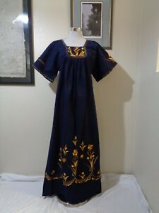 VINTAGE MEXICAN BLUE HEAVY COTTON GOLD/BROWN FLORAL EMBROIDERED BOHO MAXI DRESS