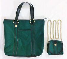 Vintage LIZ CLAIBORNE Green Wool Black Patent Leather Tote & Mini Cross Body Bag