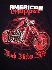 American Chopper Black Widow Bike Custom Motorcycles Bikers Black T Shirt S m