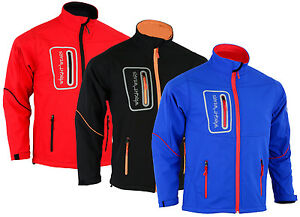 Mens Black Red Blue Soft shell Pro Jacket Windproof Long Sleeves 4 Zip Pockets
