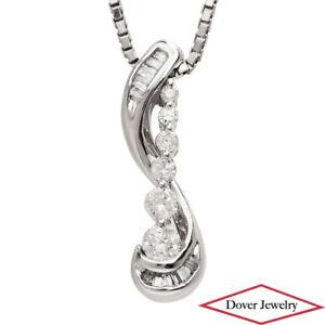 Estate Diamond 10K Gold Lovely Journey Graduated Pendant NR