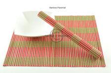 4 Hecho a Mano Madera de Bambú manteles individuales mesa esteras, Verde-Rojo, P071