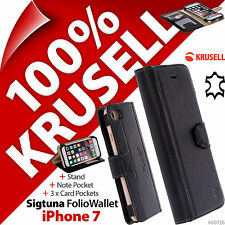 Krusell Sigtuna GENUINE LEATHER Folio Wallet Stand Flip Case Cover for iPhone 7