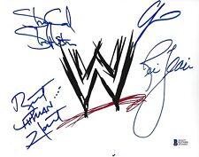 Stone Cold Steve Austin Bret Hart Ric Flair +1 Y2J Signed 8x10 Photo BAS COA WWE