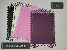 Ornate Rectangle Swirls Paper Die Cuts x4 Scrapbooking Card Topper Embellishment