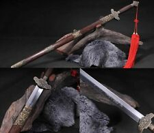 "Hand Forge Chinese Sword ""Peony Jian ""(劍) Carbon Steel Alloy Fitting # 9215"