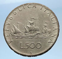 1965 ITALY - CHRISTOPHER COLUMBUS Ships to DISCOVER America SILVER Coin i69613