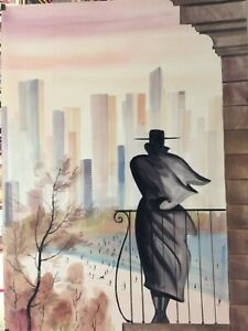 "ERIK FREYMAN- ""MANHATTAN""  ORIGINAL WATERCOLOR WITH AIRBRUSH   UNIQUE   RARE"
