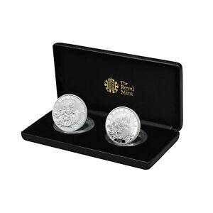 2021 Great Britain Britannia Proof & Reverse 2-Coin x 1 oz Silver Set - 500 Made