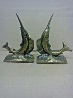 Pair of Vintage Brass Tone Metal Cast Swordfish / Sailfish Bookends
