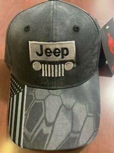 New Jeep Wrangler Kryptek baseball hat cap NWT adjustable gray grey with flag