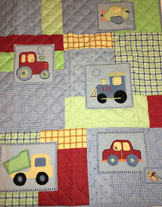 """Child of Mine Carters Crib Quilt Blanket Blue Red Trucks Patchwork 33"""" x 42"""" NWT"""