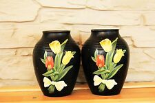 Vintage Pair Brentleigh Ware Marden Black Ceramic Vases England English Pottery