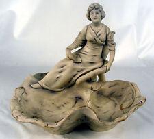 Royal Dux Bohemia Figural Candlestick Bowl Art Nouveau