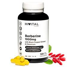 Berberina 1000 mg. 120 cápsulas veganas para 2 meses. Con Cromo y Pimienta Negra