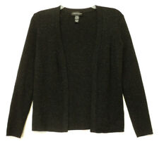 size small Cable & Gauge open front CARDIGAN black metallic ribbed knit S