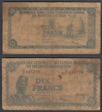 Belgian Congo 10 Francs 1955 (VG) Condition Banknote P-30