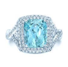 18K White Gold Cushion Cut Aquamarine Diamond Cocktail Ring Split Shank Twist