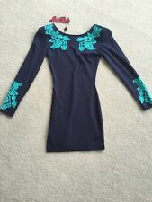 Motel Rocks **$74.90** Gina Paisley Dress Bodycon XS Navy Blue Turquoise Stretch