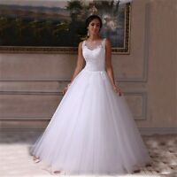 Modest Ivory/White Tulle Applique A Line Wedding Bridal Gown Dress Custom 4 6 8+