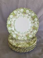 Antique set of 6 Green Bread and Butter Plate 6 7/8""
