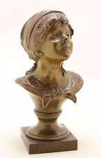 antique bronze sculpture August Moreau, a girl, Fadette, a George Sand character