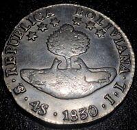 1830 PTS JL Bolivia 4 Soles Bolivar Rare Silver Coin Polished