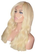 "IN STOCK Remy Human Hair Wig Front Lace 18"" Long Wavy Light Blonde 613 60 Fringe"
