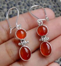 Two Carnelians Solid Silver, 925 Bali Handcrafted Earring 32142
