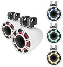 "New listing 2) Kicker Kmtc11 Hlcd 11"" 600w White Wakeboard Tower Speakers w/Horns 44Kmtc114W"