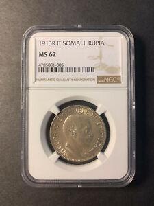 Italian Somaliland silver 1 rupia 1913 uncirculated NGC MS62