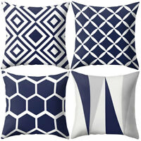 Navy Blue Geometric Pattern Pillow Case Cushion Cover Office Home Sofa Bed Decor