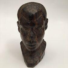 "Vintage African Carved Wood Folk Art Ebony Man 6.5"" Tall Bust"