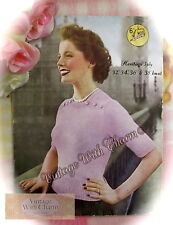 Vintage 1950s Lady's 6 Button Jumper Knitting Pattern. Fit 32-38in. Bust .