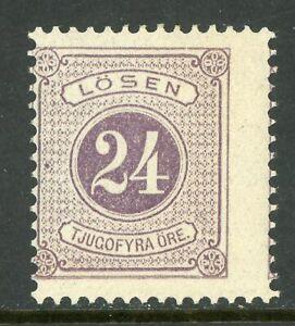 Sweden 1884 Postage Due 24 Ore Violet Perf 13 Scott # J18a Mint N781