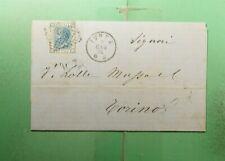 DR WHO 1874 ITALY IVREA FANCY CANCEL F/L TO TORINO  g38278