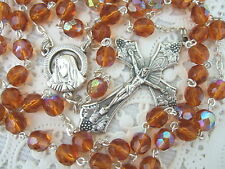 Catholic Rosary TOPAZ AMBER 7mm AB glass beads Italy nice Crucifix medal