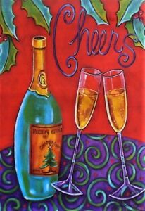 """Cheers Garden Flag by Toland # 5056,  12"""" x 18"""" New Years"""