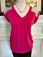 Rock 47 Wrangler ladies' Small sequined top hot pink polyester-rayon