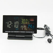 Car voltage meter with clock and in/out thermometer,humidity,weather station
