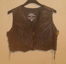 Barney's Black extra large XL Leather Biker Jacket Trim & Fringe Womens