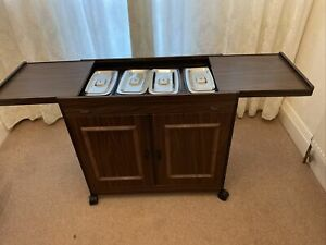 Philips Hostess Food Heated Serving Trolley Cabinet In 4 X Pyrex Dishes