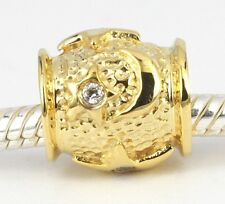 SOLID 9CT 9KT YELLOW GOLD Cz Stars Sun Moon BEAD For Charm Bracelet / Chain