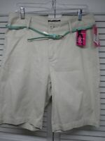 LEE Women's Beige Just Below the Waist Stretch Bermuda Shorts, SZ 12 M BELT NEW!