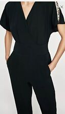 ZARA WOMAN BLACK LONG JUMPSUIT WITH Jeweled Sleeves Size Large New With Tags