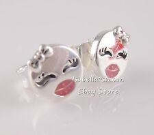 PLAYFUL WINK Authentic PANDORA Pink Enamel EMOJI Stud EARRINGS 297102EN161 NEW